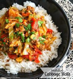 No need to fuss steaming and rolling cabbage leaves when you can make these Unstuffed Cabbage Rolls with very little effort and achieve tasty results. Boiled Cabbage, Steamed Cabbage, Roasted Cabbage, Easy Cabbage Recipes, Ground Beef Recipes Easy, Onion Recipes, Meat Recipes, Crockpot Recipes, Chicken Recipes
