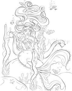 mermaid coloring page adult coloring page by enchantedezignstudio