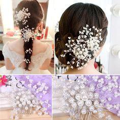 結婚式のヘアアクセサリーエレガントなクリスタルパールヘアクリップブライダルティアラ韓国ヘアピンロマンチックなウェディング髪の宝石ヘアピンsl