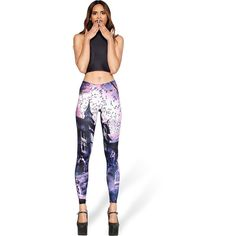 Purple Castle Print Elastic Waistband Leggings ($15) ❤ liked on Polyvore featuring pants, leggings, purple, elasticated waist trousers, white elastic waist pants, purple trousers, stretch waist pants and white pants