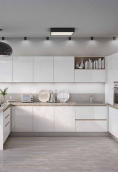 Cozinha branca delicada com boa luminosidade e decoração Brown Kitchens, Glass Blocks, Decoration, Kitchen Design, House Plans, Kitchen Cabinets, New Homes, House Design, House Styles