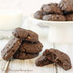 Double Chocolate Crunch Cookies | DizzyBusyandHungry.com - Cake mix and crispy rice cereal give these cookies an amazing chocolatey taste and wonderful texture!