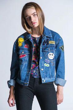 women's patch denim jacket.