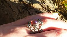 Dragon's Breath Fire Opal Ring Leaves and Filigree Breathtaking Valentine Sale Fire Opal Necklace, Opal Earrings, Blue Necklace, Alexandrite Jewelry, Thing 1, Summer Gifts, Renaissance, Filigree Ring, Love Ring