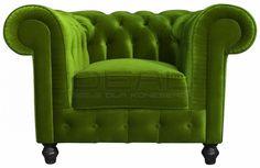 fotel Chesterfield, styl angielski, armchair, głęboko pikowany, plusz, velvet, zielony, green, niebieski, turkusowy, emerald fotel_chesterfield_lady_rem_IMG_3798c.jpg (925×600)