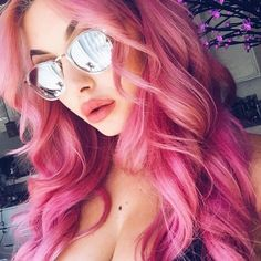 DIY Hair: 10 Pink Hair Color Ideas Going pink? Take a look at these dyes from Manic Panic, Joico, Pr Diy Hairstyles, Pretty Hairstyles, Scene Hairstyles, Wedding Hairstyles, Hair Color Pink, Hair Colors, Hot Pink Hair, Pink Wig, Coloured Hair