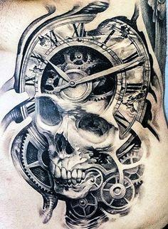 tatuaże 3d czaszka i zegar