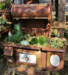 Antique stove planted with succulents--via Sweetstuff's Sassy Succulents (taken at High Hand Nursery)
