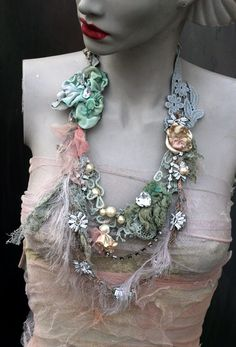 Old lace necklace  original shabby chic layered  by FleursBoheme