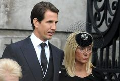 Crown Prince Pavlos and Marie Chantal of Greece and Denmark attend the funeral for Margaret Thatcher 4/17/13