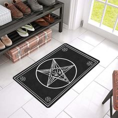 Hail Satan Baphomet Goat in Pentagram Cutting Board Door Mat Non-Slip Bath Mat Kitchen Floor Carpet Mat