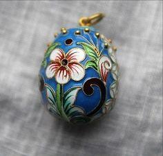 Rare Russian Imperial Antique Sterling Silver Cloisonne Enamel Egg Pendant Charm