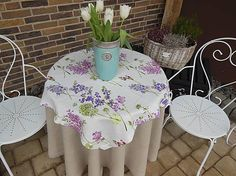 Linen spring tablecloth by shabby.romantic / Ľanový obrus Blooming Meadow