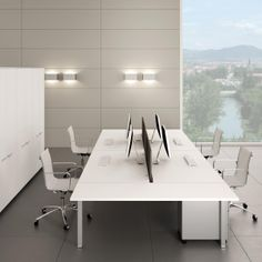 Modern Office Design: The Gate bench systems interpret your office rationally through the use of recessed legs and linear extendible desks that can be joined together. The modular structure enables you to organise shared linear or shaped workstations in the best way possible. Perfect union between form and function. www.laseroffice.co.uk