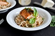 30 Minute Crispy Salmon with Creamy Basil Noodles - fantastic! double the sauce recipe so there is enough to go over the salmon...used fat free half n half and a little less butter to cut back on the cals...