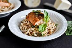 30 minute crispy salmon & basil noodles