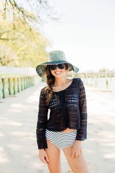Crochet coverup with striped swimsuit. #summer #fashion