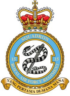Badge for 15 Squadron RAF Regiment Air Force Aircraft, Military Cap, Royal Air Force, Crests, Dojo, Military Aircraft, British Royals, Wwii, Respect