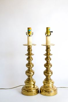 Pair of Hollywood Regency Brass Lamps Alsy