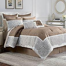 Torino 12-Piece Complete Comforter Set in Ivory/Beige