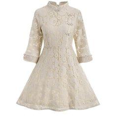 Lace A Line Cheongsam Dress ($22) ❤ liked on Polyvore featuring dresses, lacy dress, a line dress, a line silhouette dress, qipao dress and a line shape dress