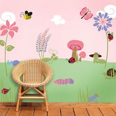 Girl Nursery Stencils for Walls | Flower and Bug Wall Stencils for Girls Room Baby by MyWallStencils