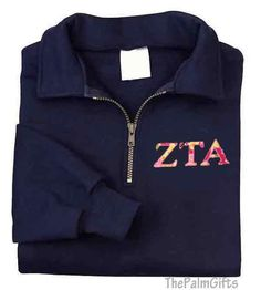 Sorority Letters Sweatshirt- Embroidered Quarter Zip Sweatshirt -Lilly Fabric-Style 14 (except delta delta delta)