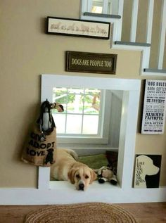 *Clever indoor dog house under the stairs! Love the window!