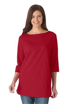 4d80a5b0a8a Womens Plus Size Perfect Boatneck Tee Light Sapphire1X     Check out this  great product