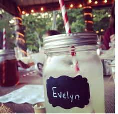 Use chalkboard labels on our Mason jar sipping cups to keep track of everyones drinks. They are also great for labelling snacks served in Mason or Weck Jars. Best of all they easily remove an re-stick onto another container for your next event. http://panierpicnic.com/shop/chalkboard-labels/