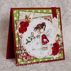 Julkort i traditionella färger - http://kristinasscrapbookingblogg.se/julkort-i-traditionella-farger/ - Hejsan!  Kan det vara så att du gärna vill göra julkort med fina bilder men inte kan/orkar/vill måla själv? Då är absolutdessa Topper Sheets är något för dig! Jag har använt mig av ett som heter Winter Fairy och jag matchade upp resten av kortet med dom traditionella julfärgerna rött och grön...