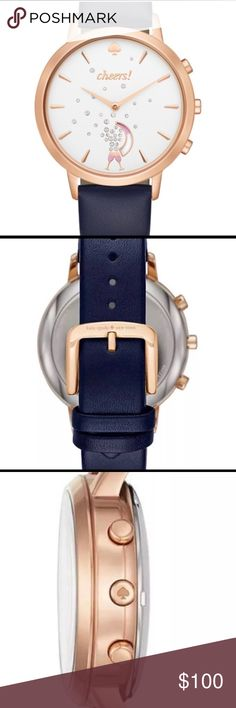 Kate Spade ♠️ Hybrid Smartwatch Activity Tracker Brand New Metro Grand watch with genuine navy leather band, Gold plated accents, and White Face dial with crystal accents coming from the champagne flutes. Goes with jeans or dress pants!  Links automatically to the kate spade app which provides motivation, celebrations, goal setting, as well as activity tracking! There are vibration alerts, music controls and does not need charging!  Compatible with Android OS 4.4 or higher, iOS 8.1 and…