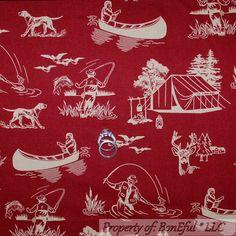 BonEful FABRIC FQ Cotton Quilt Red Dog Hunt Cabin Deer Bird Camp Fish Tent Canoe #WindhamFabrics