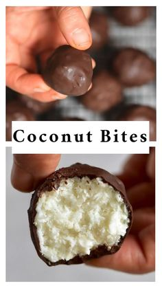 health snacks These 3 Ingredient healthy coconut bliss balls are the perfect healthy bounty-like bite-sized treats but so much healthier. They are are a healthy vegan snack, refined sugar-free, low-carb, gluten-free and take less than 10 minutes to make! Healthy Sweet Snacks, Healthy Dessert Recipes, Healthy Sweets, Easy Snacks, Healthy Baking, Vegan Snacks On The Go, Healthy Drinks, Dinner Recipes, Easy Recipes
