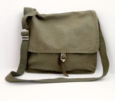Vintage Military Bag Linen Pouch Green Retro by AlexVintageArea