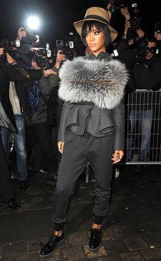 Rihanna strikes a fierce pose at the Lanvin show during Paris Fashion Week!