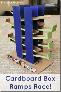 Cardboard Box Ramps Race - Use cardboard to build this back and forth track for Hot Wheels or Matchbox cars. There are two tracks so the cars can race. by danielle Matchbox Autos, Matchbox Cars, Voitures Hot Wheels, Hot Wheel Autos, Diy For Kids, Crafts For Kids, Diy Pour Enfants, Carton Diy, Diy Karton
