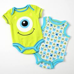 Dress your little monster in style! In this two-pack, you'll find a green bodysuit and a white bodysuit with blue trim and all-over Mike Wazowski and Sulley print.