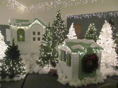 Little Tyke playhouses.  The link does not work for me, but pinning for inspiration....cute Christmas cottages!!