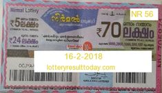 Nirmal Lottery Result 16-2-2018 Lottery Result Today, Lottery Results, Lottery Drawing, State Lottery, Kerala