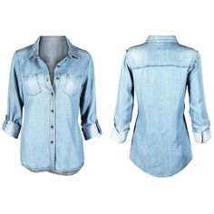 Women's Chambray Denim Button Up Shirt L TP220_Medium Wash Blouses &... ($27) ❤ liked on Polyvore featuring tops, blue, tops & tees, button up shirts, blue denim shirt, shirt top, button up top and blue top
