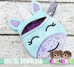 Unicornio con cremallera bolsa ITH bordado diseño