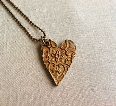 Copper Metal Clay Textured Heart Pendant Necklace by lillytoo. , via Etsy.
