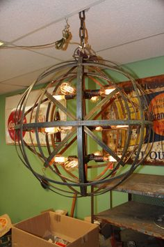Industrial Sphere Orb Chandelier Metal strap Globe Hanging Light with Thomas Edi Industrial Chandelier, Hanging Chandelier, Globe Chandelier, Hanging Lights, Chandeliers, Room Lights, Ceiling Lights, Outdoor Pavillion, Edison Lamp