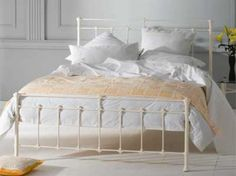 OBC Edwardian 4ft Small Double Glossy Ivory Metal Bed Frame by Original Bedstead Company