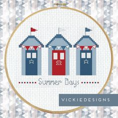 Beach Huts Summer Holiday Cross Stitch Pattern by VickieDesigns