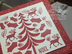 Merry Monday Challenge #230 using Stampin' Up! Happy Scenes, Holly Berry Happiness, Greetings From Santa, Paisley's & Posies, Santa's Sleigh and Red Glimmer Paper. Debbie Henderson, Debbie's Designs. #merrymonday #stampinup #debbiehenderson #debbiesdesigns