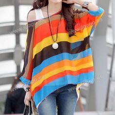 Elegante camiseta cuello redondo a rayas de 3/4 de la manga de la gasa de la blusa para las mujeres para Vender - La Tienda En Online IGOGO.ES