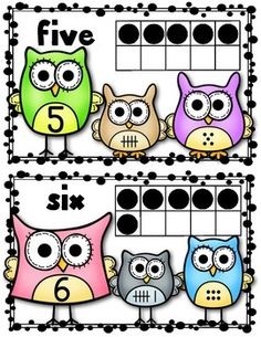 "(Sample page) ""Owl"" About Number Posters 1-10 Math Kindergarten Classroom. Supports Common Core! 5 different ways to show a number: word, numeral, tally marks, objects (dots), ten frame."