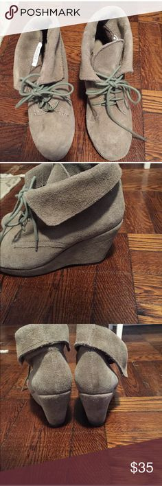 Steve Madden suede lace up booties Steve Madden light grey/tan suede lace up booties. 3 inch platform wedge. Decent condition. Can be rolled higher for a taller boot. Light tan/grey color Steve Madden Shoes Ankle Boots & Booties